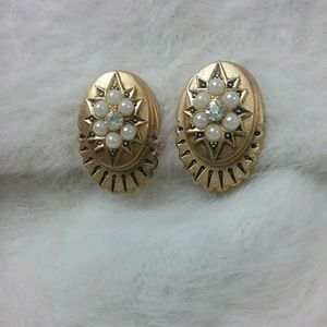 Vintage Whiting & Davis Earrings Gold Tone Clip On